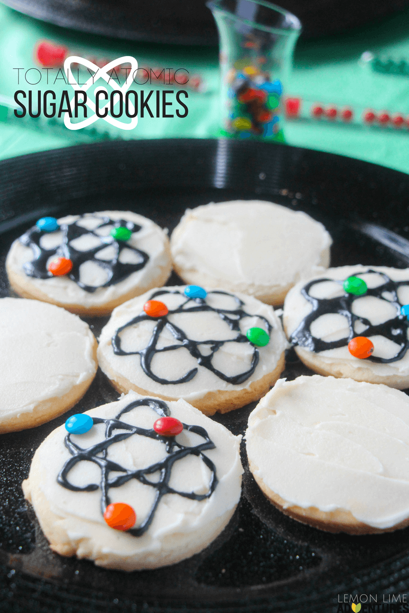 Totally awesome atomic sugar cookies are perfect for a science birthday party!