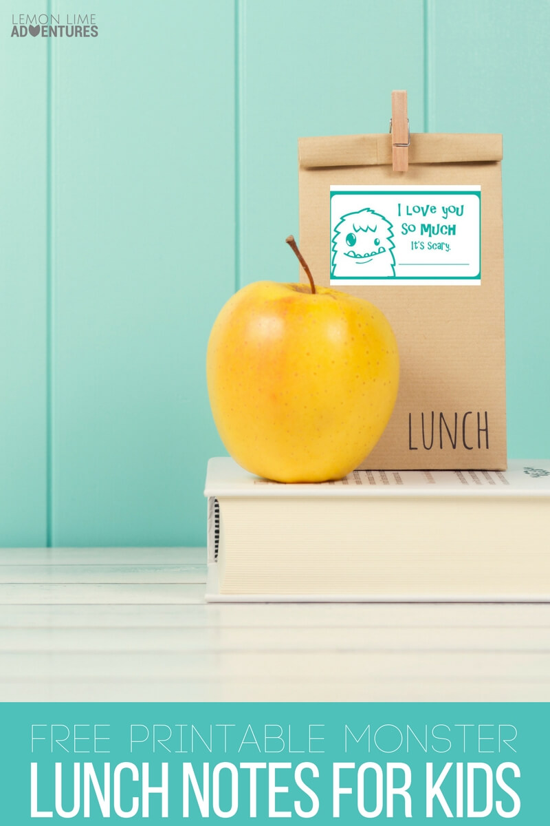 Free Monster Printable Lunch Notes for Kids- Super Cute