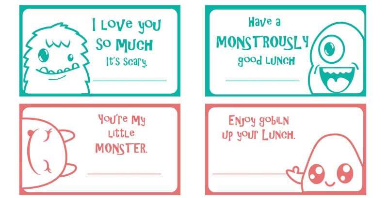 Monster Lunch Notes for Kids