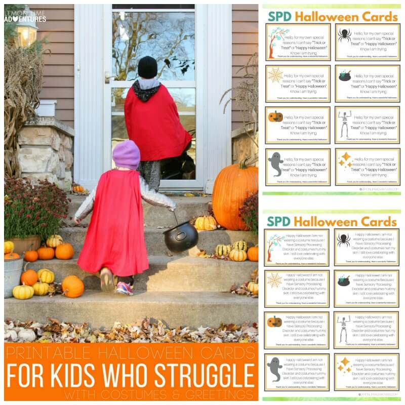 Printable Halloween Cards SPD Autism