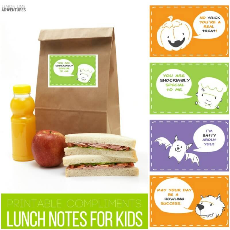 Free printable compliment lunch note cards for kids!