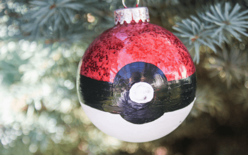Epically Easy Homemade Pokeball Christmas Ornament