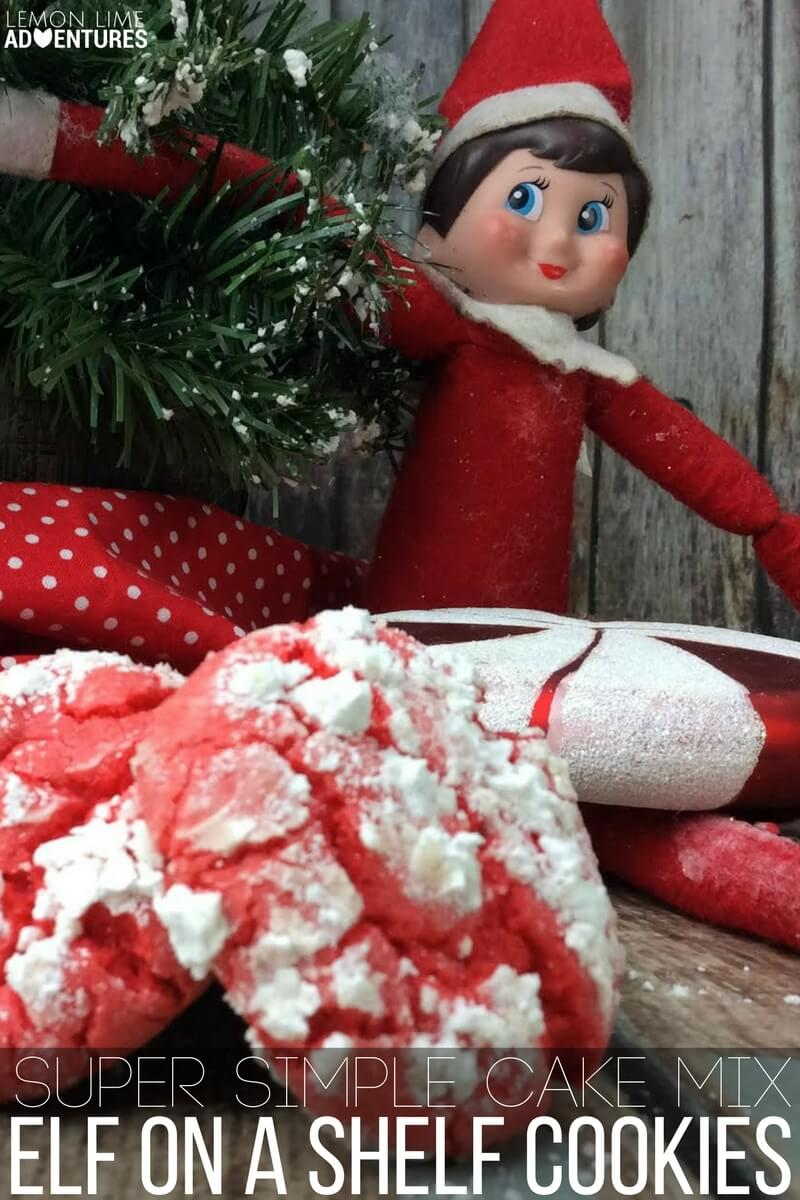 Super Simple Cake Mix Elf on a Shelf Cookies