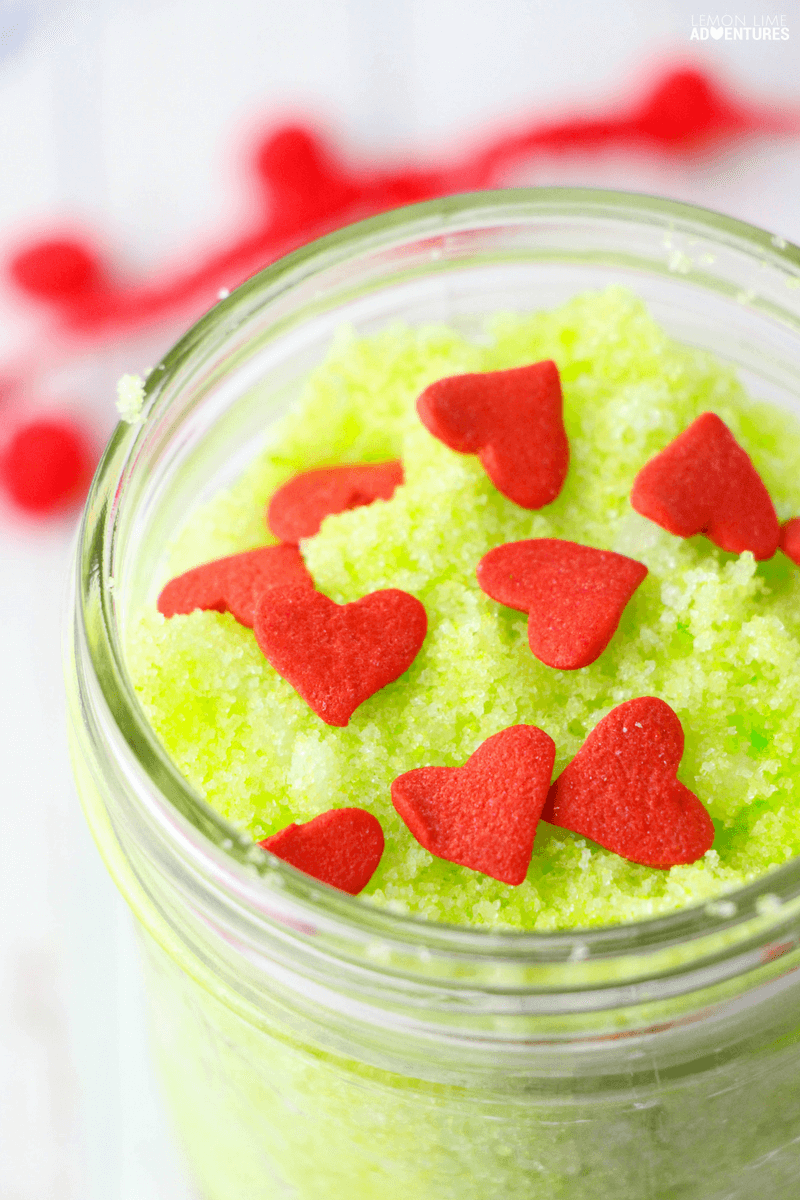 Kid Made Christmas Grinch Sugar Scrub!