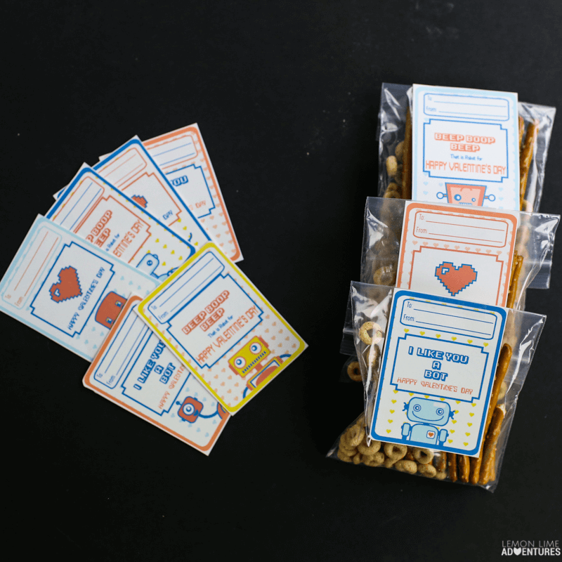 Retro Robot Non-Candy Valentines with Nuts and Bolts Treats!