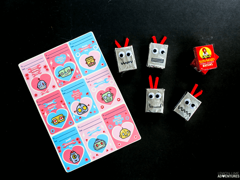 Robot Head Favor Non-Candy Printable Valentines