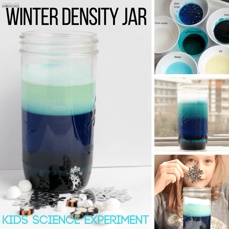 Looking for a simple winter science project? Learn about density and buoyancy with this simple winter density jar made from kitchen ingredients!