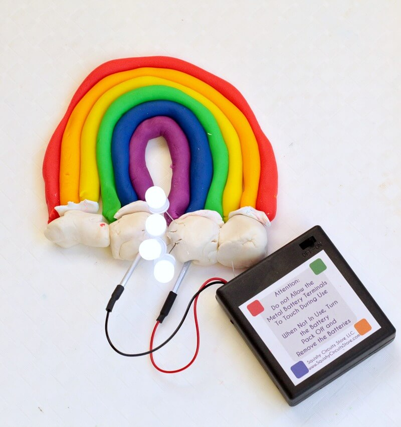 When spring is just around the corner, cheer up with this squishy circuit rainbow! Kids will love learning about circuits when rainbows are involved!