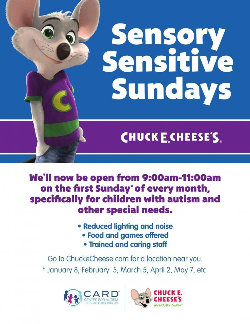 Chuck E Cheese Autism Sensory Sensitive Sundays