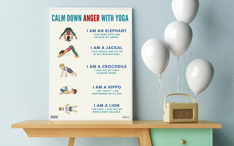 5 Simple Ways to help Children Calm Angry Feelings with Yoga (Free Printable)
