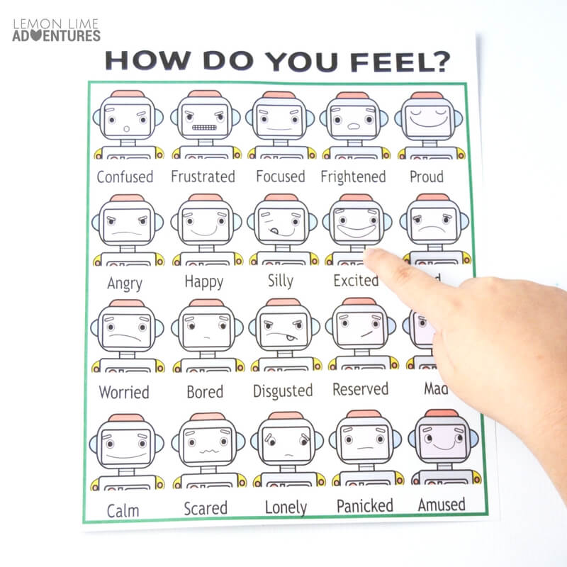 image about Feelings Chart Printable known as How in the direction of Practice Little ones Pertaining to Huge Feelings with Robots and Online games