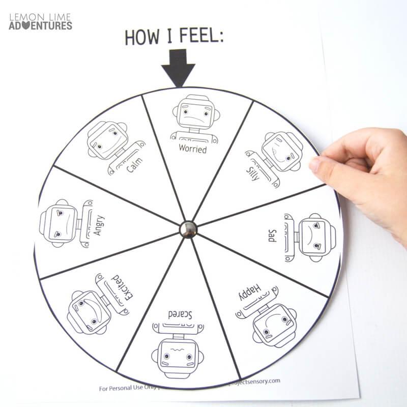 Robot Printable Feelings Wheel