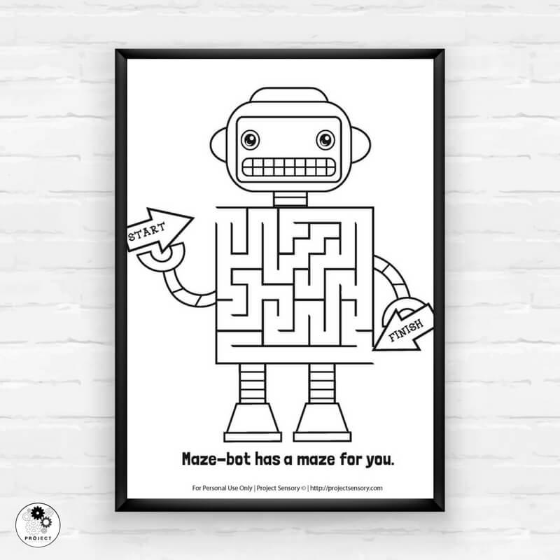 Robot Maze Free Printable