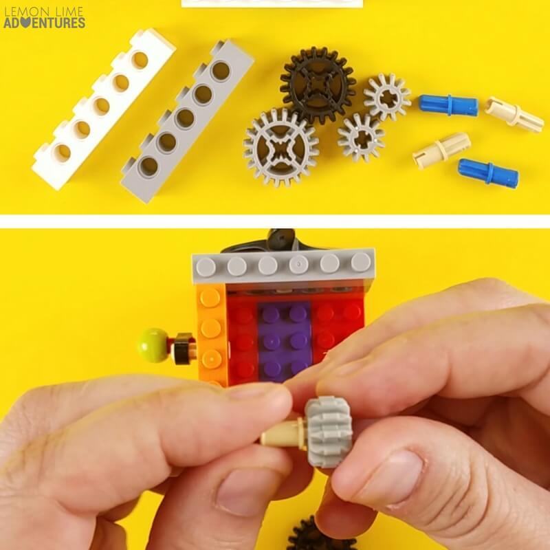 DIY lego Fidget Cube wall with gears