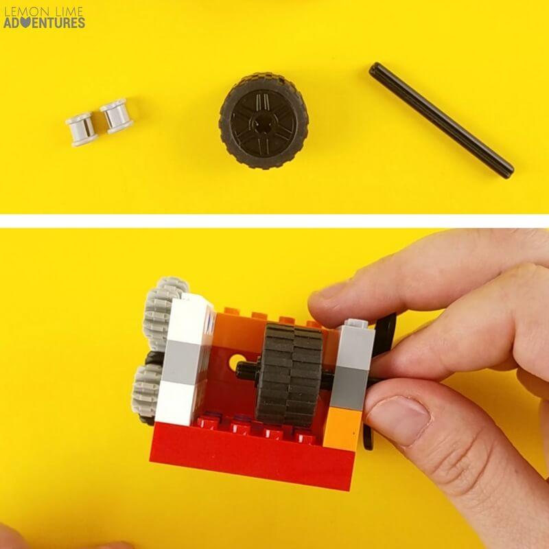 DIY lego Fidget Cube wall with wheels