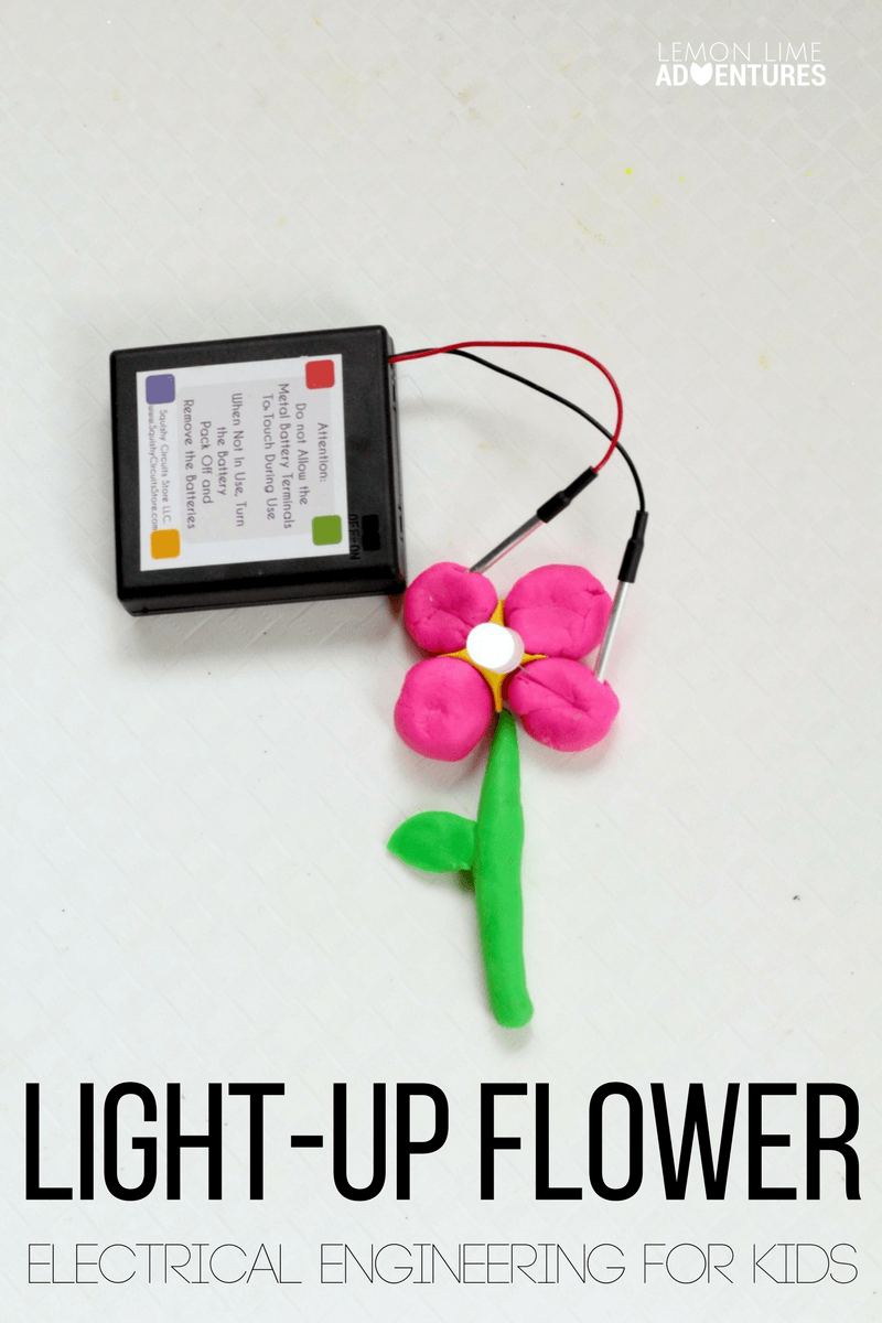 Make your very own light-up flower with a Squishy Circuits kit! Kids will love making a flower that really lights up in this STEM project!