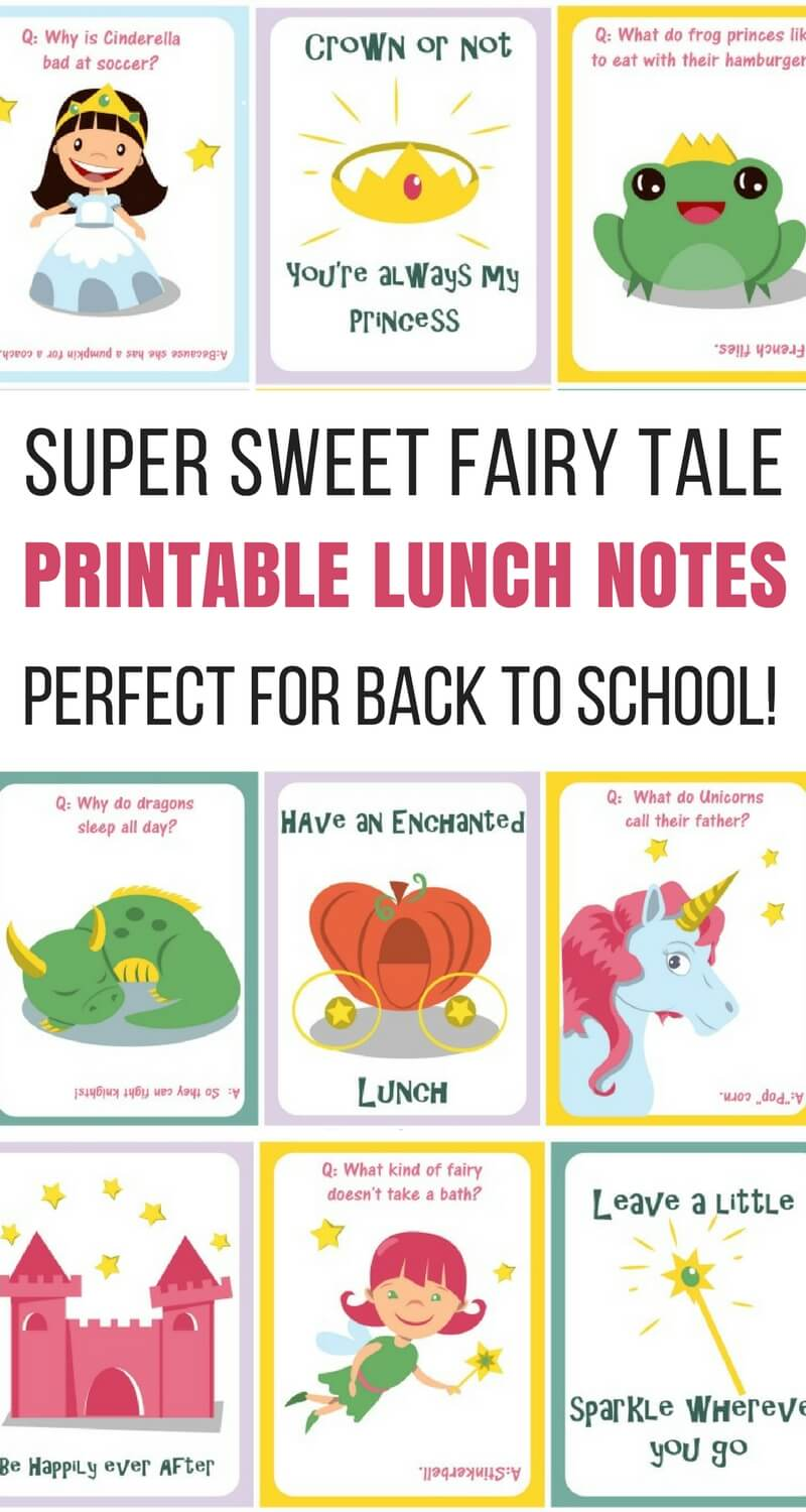 graphic regarding Printable Lunch Notes titled Tremendous Lovable Printable Fairy Story Lunch Notes