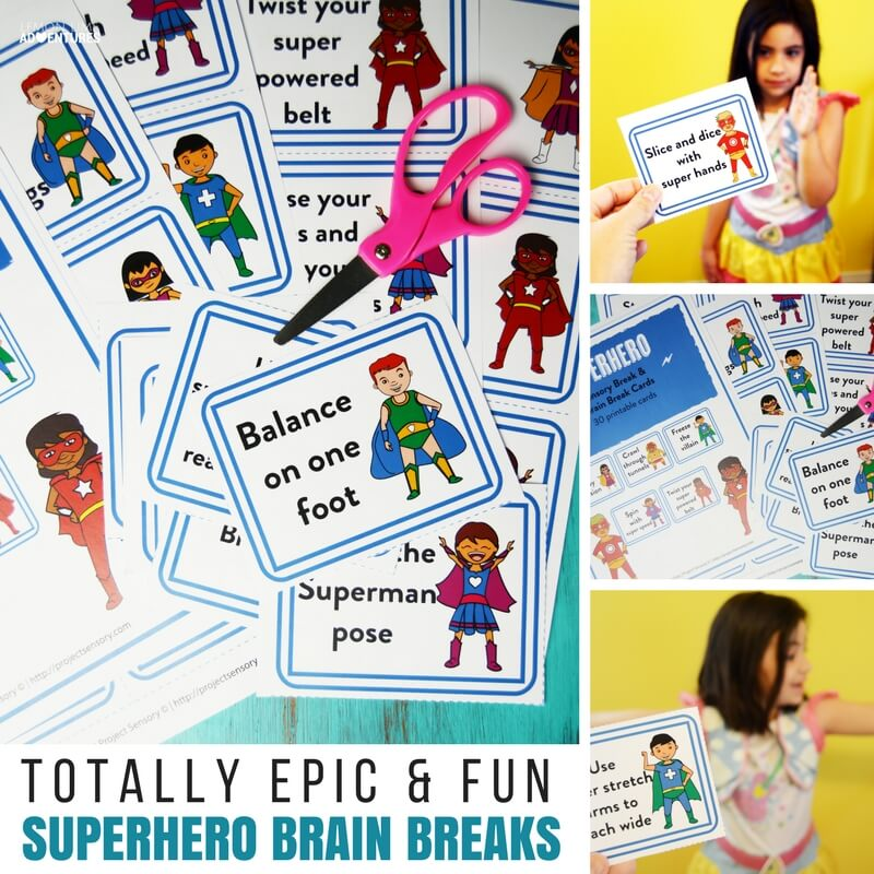 graphic about Break Cards for Students Printable referred to as Completely Epic Superhero Intellect Split Playing cards for Small children Who Cant